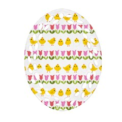 Easter   Chick And Tulips Ornament (oval Filigree) by Valentinaart