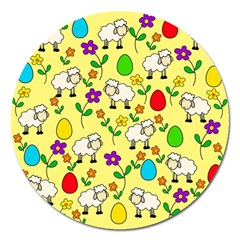 Easter Lamb Magnet 5  (round) by Valentinaart