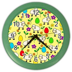 Easter Lamb Color Wall Clocks by Valentinaart