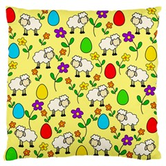 Easter Lamb Large Flano Cushion Case (two Sides) by Valentinaart