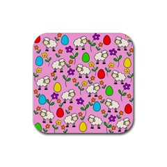 Easter Lamb Rubber Square Coaster (4 Pack)  by Valentinaart