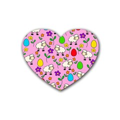 Easter Lamb Rubber Coaster (heart)  by Valentinaart