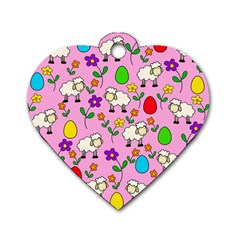 Easter Lamb Dog Tag Heart (two Sides) by Valentinaart