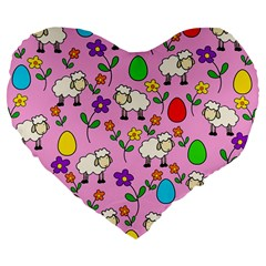 Easter Lamb Large 19  Premium Flano Heart Shape Cushions by Valentinaart