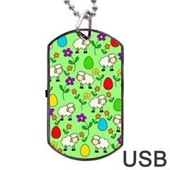 Easter Lamb Dog Tag Usb Flash (two Sides) by Valentinaart