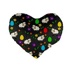 Easter Lamb Standard 16  Premium Flano Heart Shape Cushions by Valentinaart