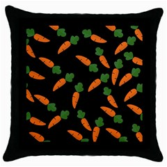 Carrot Pattern Throw Pillow Case (black) by Valentinaart