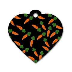 Carrot Pattern Dog Tag Heart (two Sides) by Valentinaart