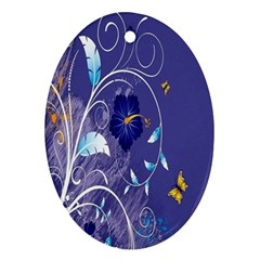 Flowers Butterflies Patterns Lines Purple Ornament (oval) by Mariart