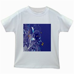 Flowers Butterflies Patterns Lines Purple Kids White T Shirts by Mariart