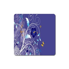 Flowers Butterflies Patterns Lines Purple Square Magnet by Mariart