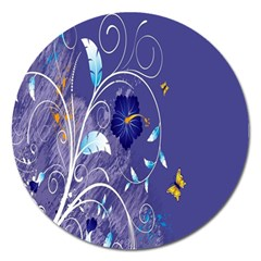 Flowers Butterflies Patterns Lines Purple Magnet 5  (round) by Mariart