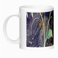 Flowers Butterflies Patterns Lines Purple Night Luminous Mugs by Mariart