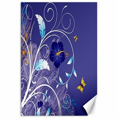 Flowers Butterflies Patterns Lines Purple Canvas 24  X 36  by Mariart