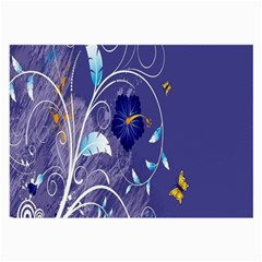 Flowers Butterflies Patterns Lines Purple Large Glasses Cloth (2 Side) by Mariart