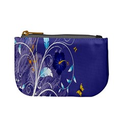 Flowers Butterflies Patterns Lines Purple Mini Coin Purses by Mariart