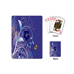 Flowers Butterflies Patterns Lines Purple Playing Cards (mini)  by Mariart