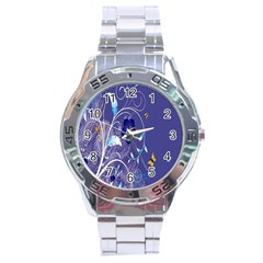 Flowers Butterflies Patterns Lines Purple Stainless Steel Analogue Watch by Mariart