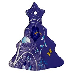 Flowers Butterflies Patterns Lines Purple Christmas Tree Ornament (two Sides) by Mariart