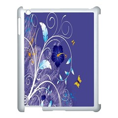 Flowers Butterflies Patterns Lines Purple Apple Ipad 3/4 Case (white) by Mariart