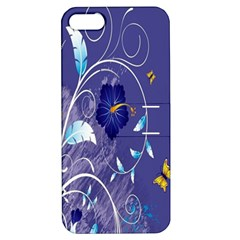 Flowers Butterflies Patterns Lines Purple Apple Iphone 5 Hardshell Case With Stand by Mariart
