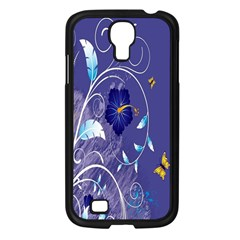 Flowers Butterflies Patterns Lines Purple Samsung Galaxy S4 I9500/ I9505 Case (black) by Mariart