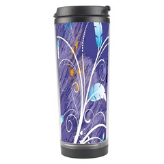 Flowers Butterflies Patterns Lines Purple Travel Tumbler by Mariart