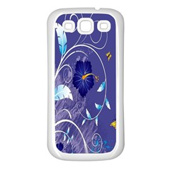 Flowers Butterflies Patterns Lines Purple Samsung Galaxy S3 Back Case (white) by Mariart