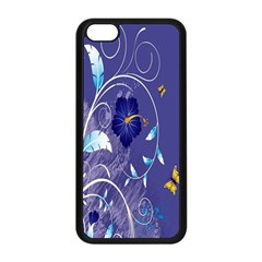 Flowers Butterflies Patterns Lines Purple Apple Iphone 5c Seamless Case (black) by Mariart