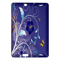 Flowers Butterflies Patterns Lines Purple Amazon Kindle Fire Hd (2013) Hardshell Case by Mariart