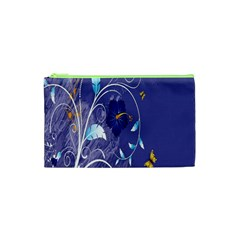 Flowers Butterflies Patterns Lines Purple Cosmetic Bag (xs) by Mariart