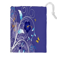 Flowers Butterflies Patterns Lines Purple Drawstring Pouches (xxl) by Mariart