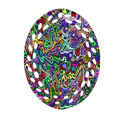 Colorful Abstract Paint Rainbow Oval Filigree Ornament (two Sides) by Mariart