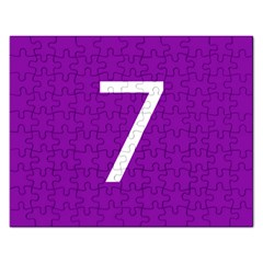 Number 7 Purple Rectangular Jigsaw Puzzl by Mariart