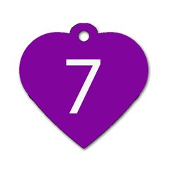 Number 7 Purple Dog Tag Heart (two Sides) by Mariart