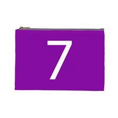 Number 7 Purple Cosmetic Bag (large)  by Mariart
