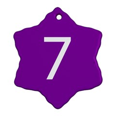 Number 7 Purple Snowflake Ornament (two Sides) by Mariart