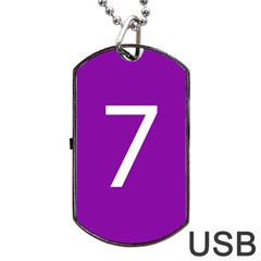 Number 7 Purple Dog Tag Usb Flash (one Side) by Mariart