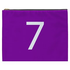 Number 7 Purple Cosmetic Bag (xxxl)  by Mariart