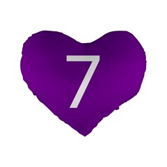Number 7 Purple Standard 16  Premium Flano Heart Shape Cushions by Mariart