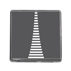 Minimalist Stairs White Grey Memory Card Reader (square) by Mariart
