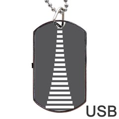 Minimalist Stairs White Grey Dog Tag Usb Flash (two Sides) by Mariart