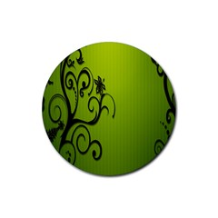 Illustration Wallpaper Barbusak Leaf Green Rubber Coaster (round)  by Mariart
