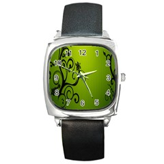 Illustration Wallpaper Barbusak Leaf Green Square Metal Watch by Mariart