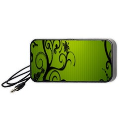 Illustration Wallpaper Barbusak Leaf Green Portable Speaker (black) by Mariart