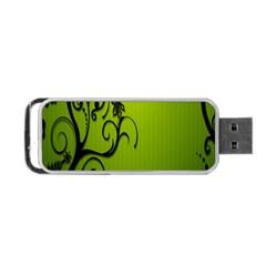 Illustration Wallpaper Barbusak Leaf Green Portable Usb Flash (two Sides) by Mariart
