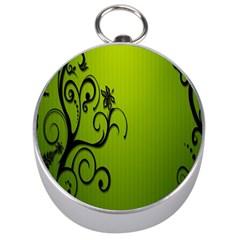 Illustration Wallpaper Barbusak Leaf Green Silver Compasses by Mariart