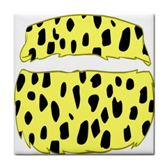 Leopard Polka Dot Yellow Black Tile Coasters by Mariart