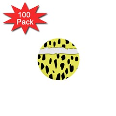 Leopard Polka Dot Yellow Black 1  Mini Buttons (100 Pack)  by Mariart