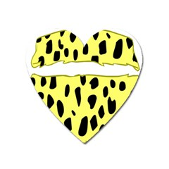 Leopard Polka Dot Yellow Black Heart Magnet by Mariart